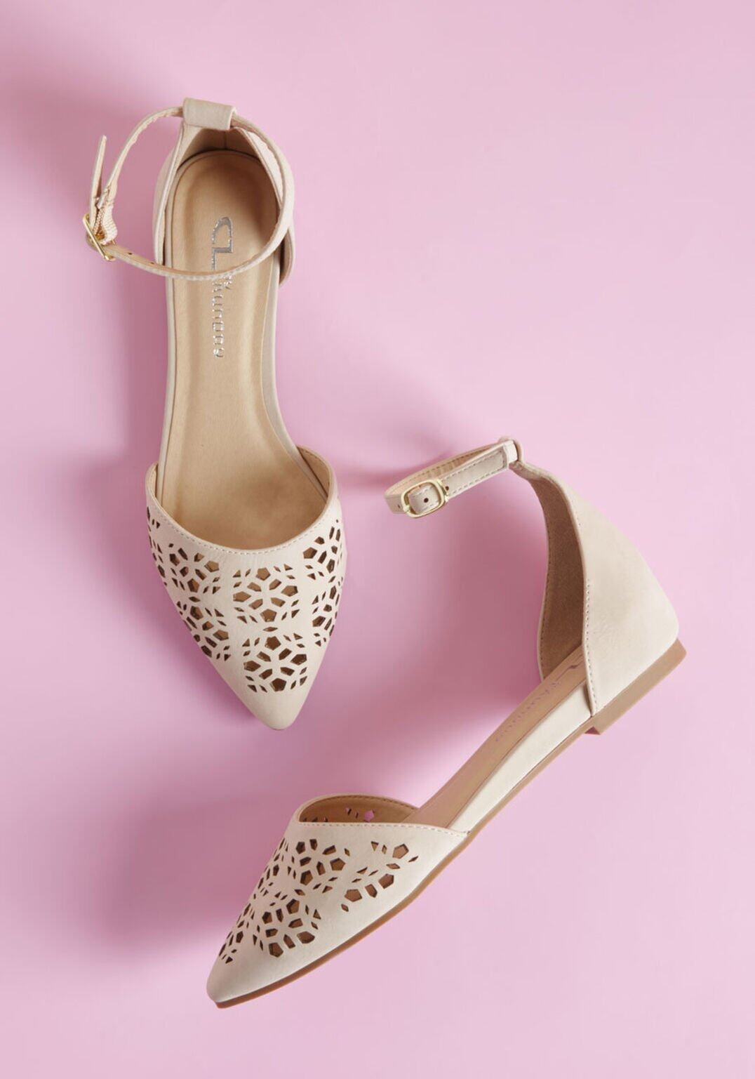 Modcloth Follow Your Elite d'Orsay Flat in Beige