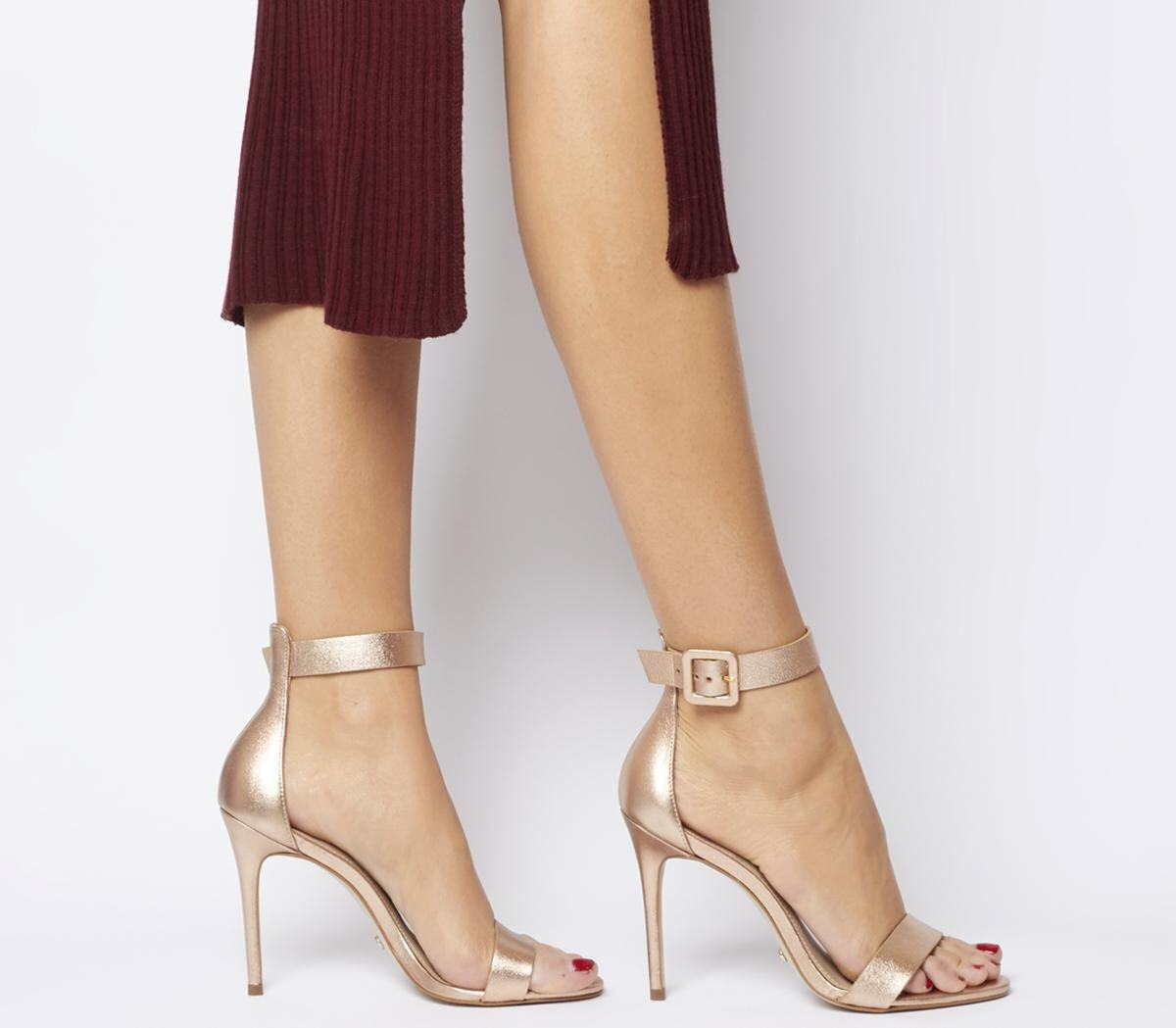 Office Heart Two Part Sandal Heels Rose Gold Leather