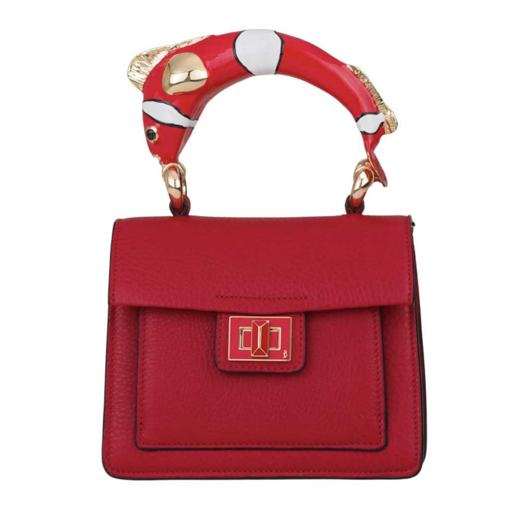 NEMO Made By SILVANO BIAGINI EXCLUSIVE FOR MIRTA Calfskin Leather Red Top Handle Bag