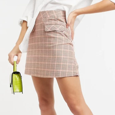 People Tree organic cotton mini skirt in houndstooth check